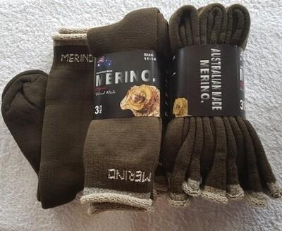 3pair packs Olive Green Merino Socks - made in Australia, from Australian merino sheep fibre.