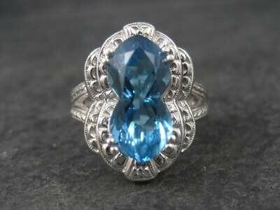 14K Deco Style London Blue Topaz Ring Size 7