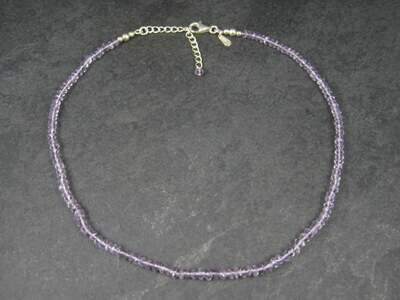 90s Vintage Amethyst Bead Necklace 16-18 Inches