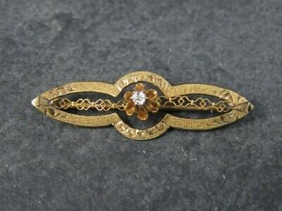 Antique 10K Diamond Brooch Pin