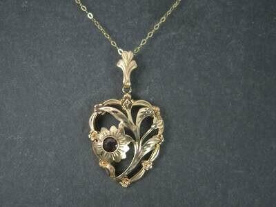 Antique 10K Garnet Heart Pendant Necklace ESEMCO