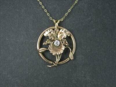 Antique 10K Diamond Orchid Pendant Necklace