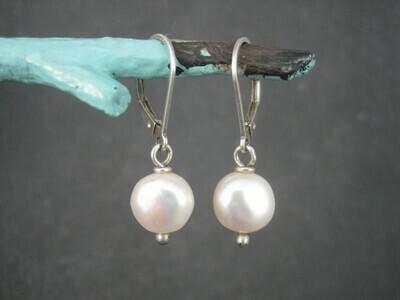 Lever White Pearl Earrings