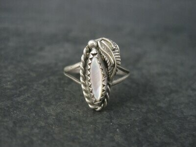 Dainty Vintage Southwestern Mother of Pearl Ring Size 6
