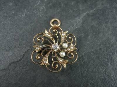 Antique 14K Diamond Pearl Brooch Pendant For Repair