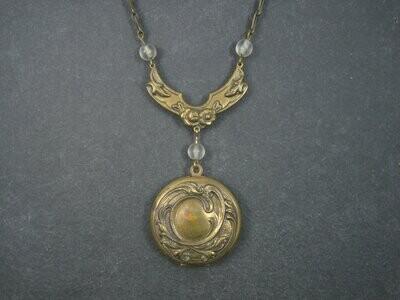 Antique Art Nouveau Brass Locket Necklace