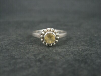 Sterling Citrine Solitaire Ring Size 7.5