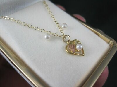Dainty Vintage 10K Black Hills Gold Pearl Heart Pendant Earrings Jewelry Set New Old Stock