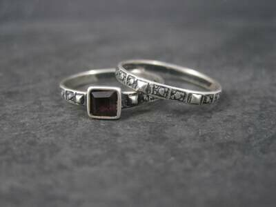 Dainty Antique Style Sterling Amethyst Wedding Rings Bridal Set Size 8