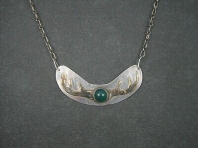 Vintage Sterling Chrysoprase Deer Antler Necklace 27 Inches