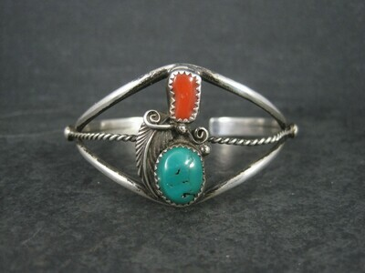 Classic Sterling Turquoise Coral Cuff Bracelet 5.5 Inches