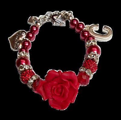 Luxe Flower Girl Bracelet, Red