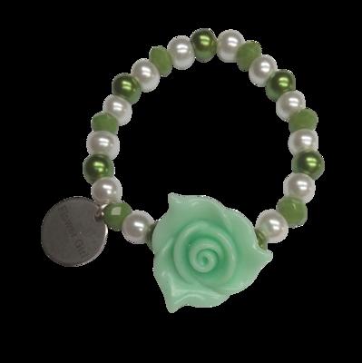 Elastic Flower Girl Bracelet, Green