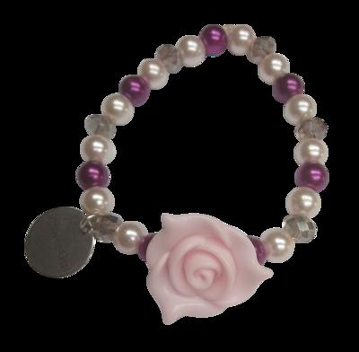 Elastic Flower Girl Bracelet, Light Pink
