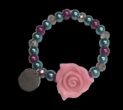 Elastic Flower Girl Bracelet, Dark Pink