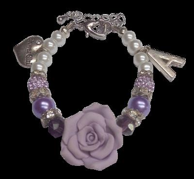 Luxe Flower Girl Bracelet, Purple