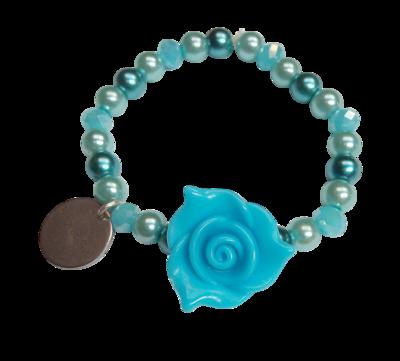 Elastic Flower Girl Bracelet, Dark Blue