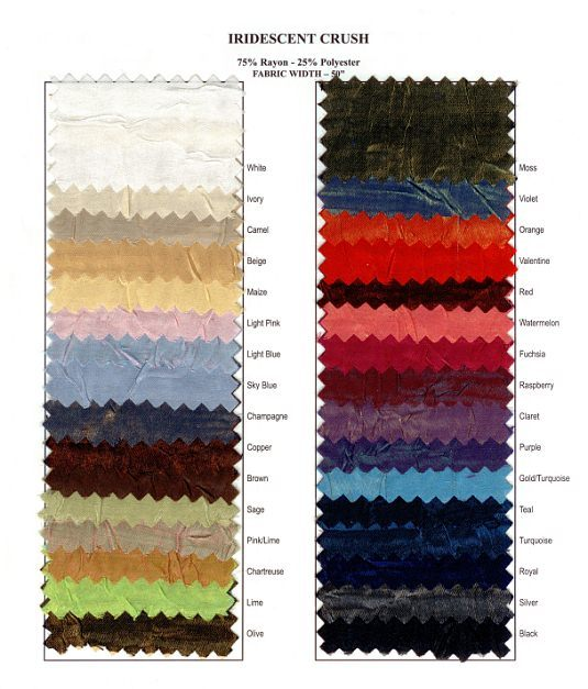 Iridescent Crush Fabric Swatch Card 01282