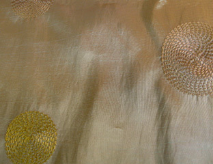 "Linens For Less 58""x120"" Rectangle in Gold Circle Taffeta"