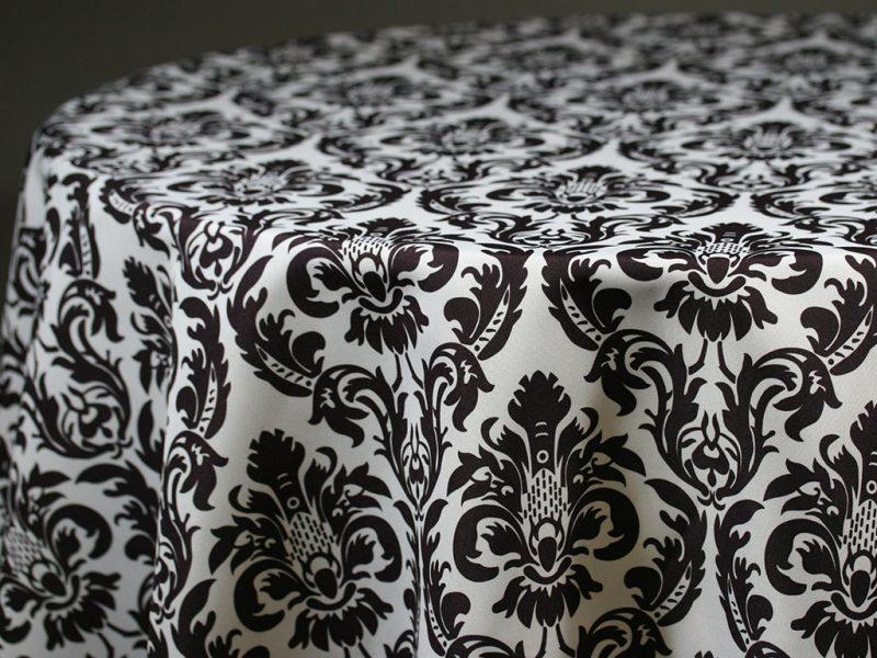 Black & White Damask Round Tablecloths