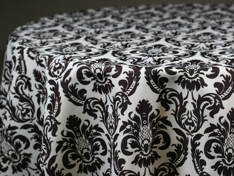 Black & White Damask Table Skirting by the foot