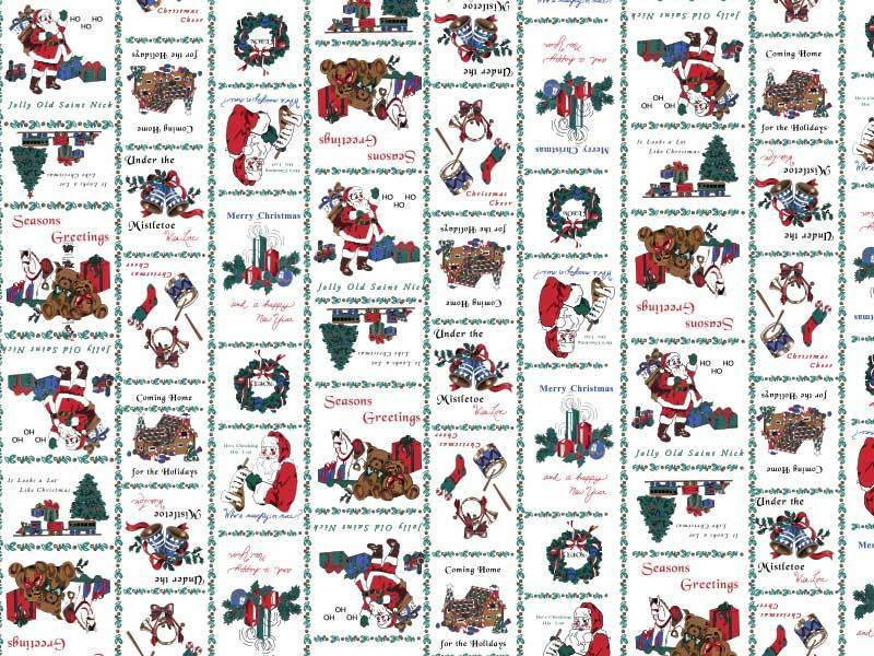 Santa Print Table Skirting by the foot