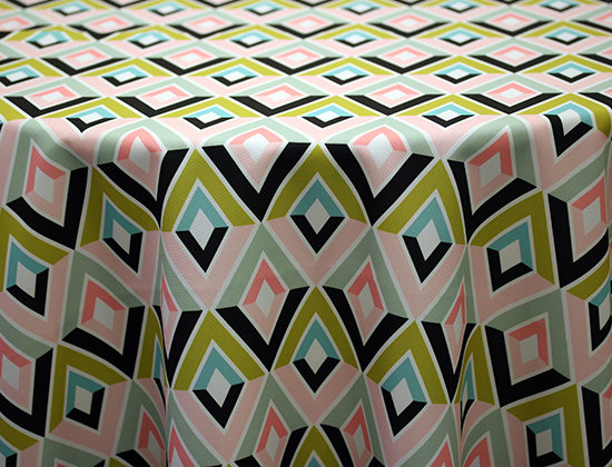 Deco Diamonds Custom Print Table Skirting by the foot