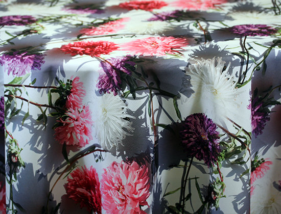Flower Shadow Custom Print Table Skirting by the foot