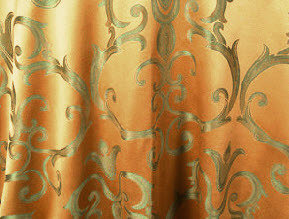 """Linens For Less 120"""" Round in Gold/Sage Chopin 03155"""