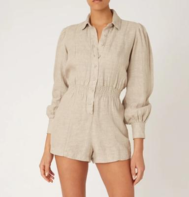 Button-Up Linen Romper