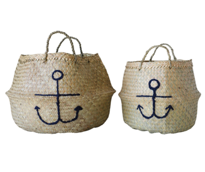 Set of 2 Anchor Collapsable Basket