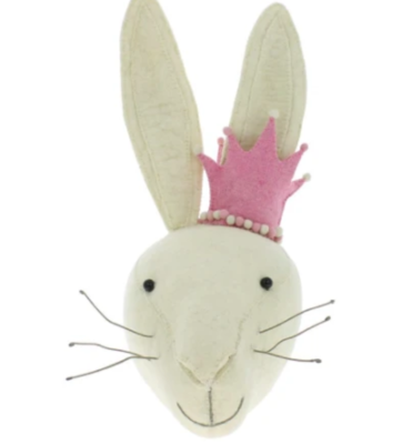 Rabbit Head with Pink Crown