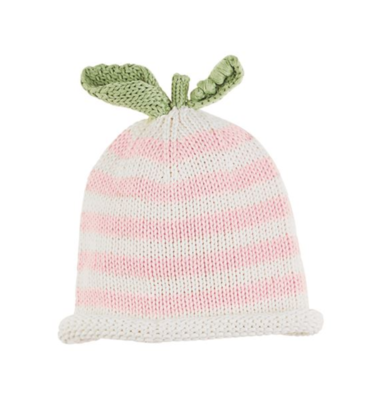 Striped Pink Pea Knit Hat