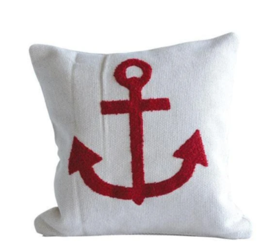 Red Anchor Hooked Pillow