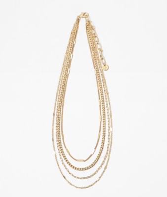 Shiny Gold Layered Chain Necklace