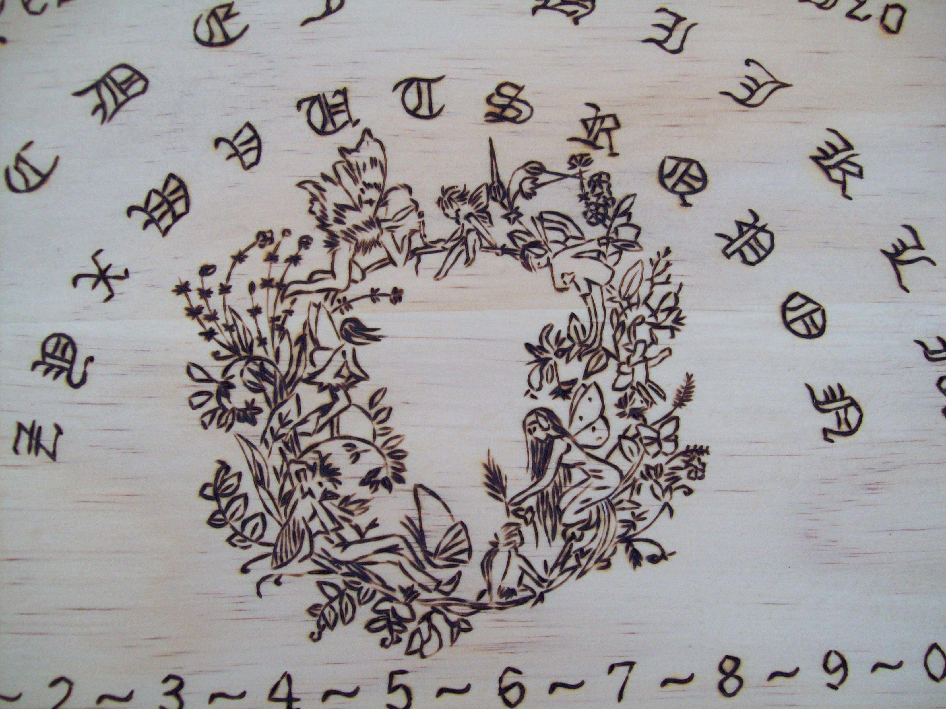 Fairy themed spirit board ooak no two alike branddragonoak each solid wood ouija board buycottarizona Gallery