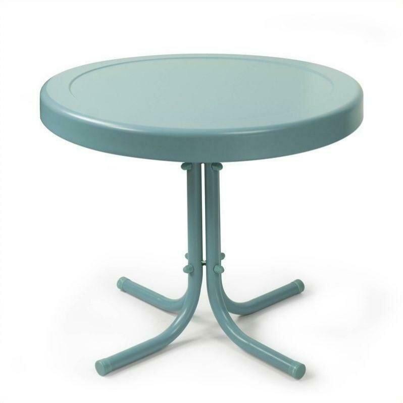 Crosley Furniture Retro Metal Side Table, Teal