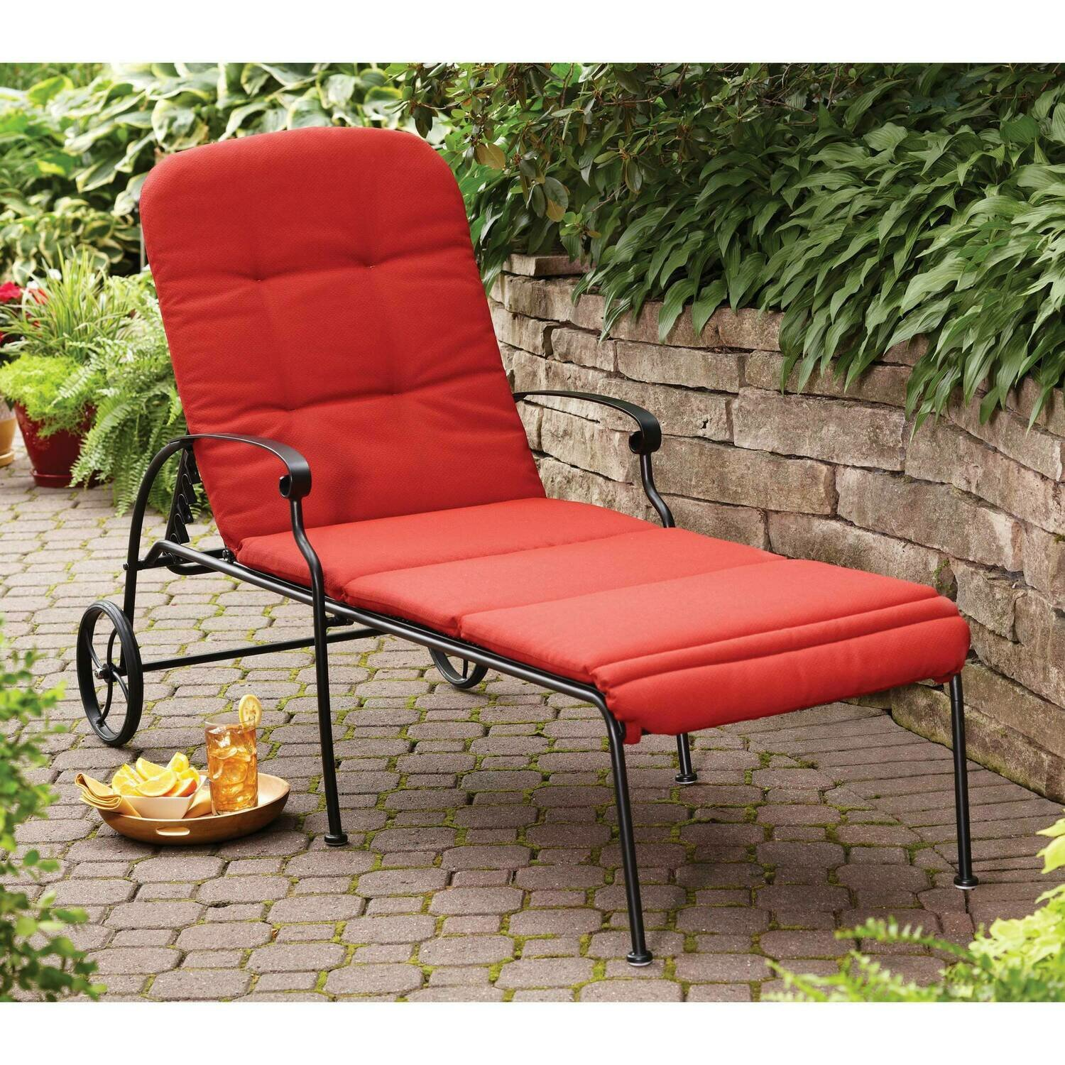 Clayton Court Chaise Lounge with Wheels, Red