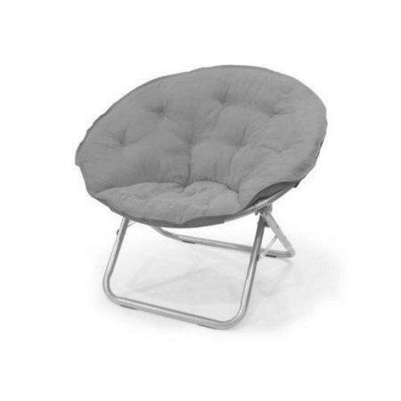 Large Microsuede Saucer Chair, Light Gray