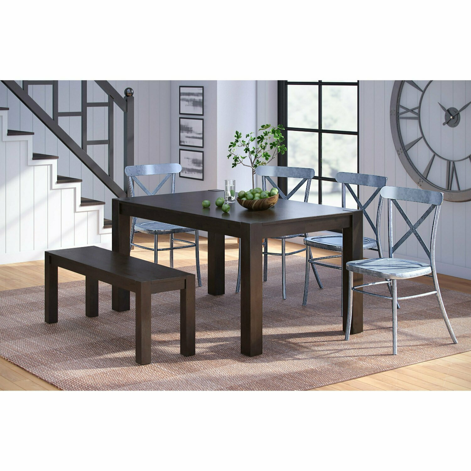 Solid Wood Dining Bench, Deep Coffee Finish