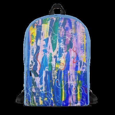 Backpack- Bold Abstract Graffiti Art Print Unisex Backpack (Blue)