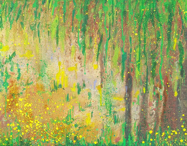 """Green Yellow Mellow"" Abstract Mixed Media Canvas Print"
