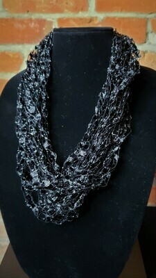 Black Sparkle Ladder Yarn Necklace