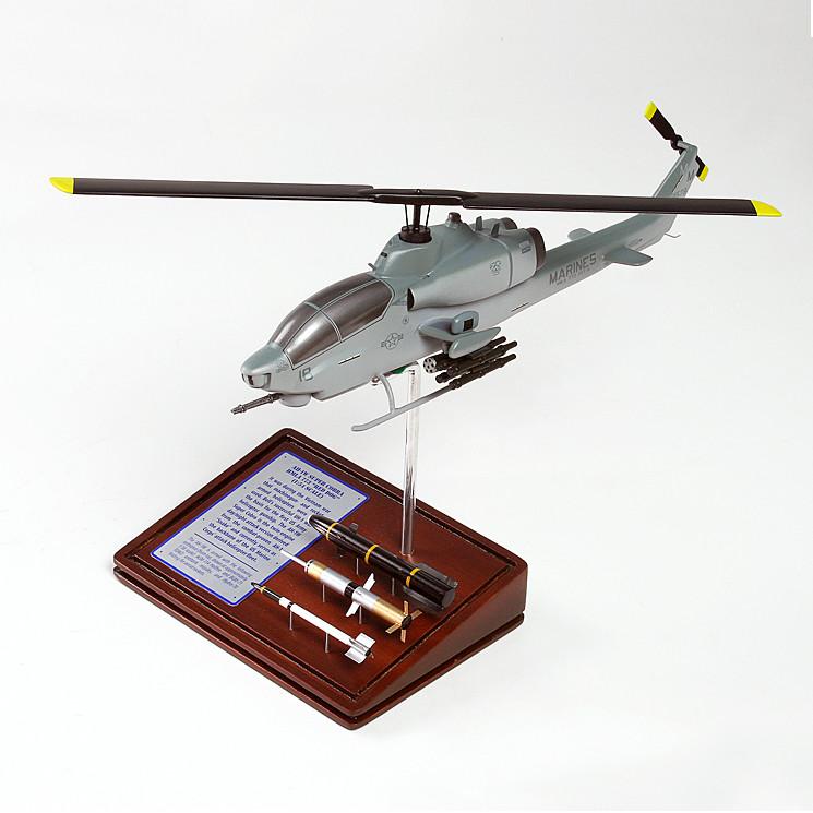 AH-1W Super Cobra USMC Wood Model Helicopter