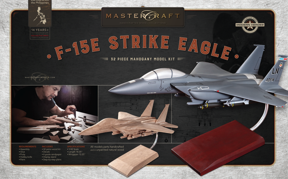 F-15 FIGHTER JET RTA SOLID MAHOGANY WOOD MODEL KIT SCALE: 1/42