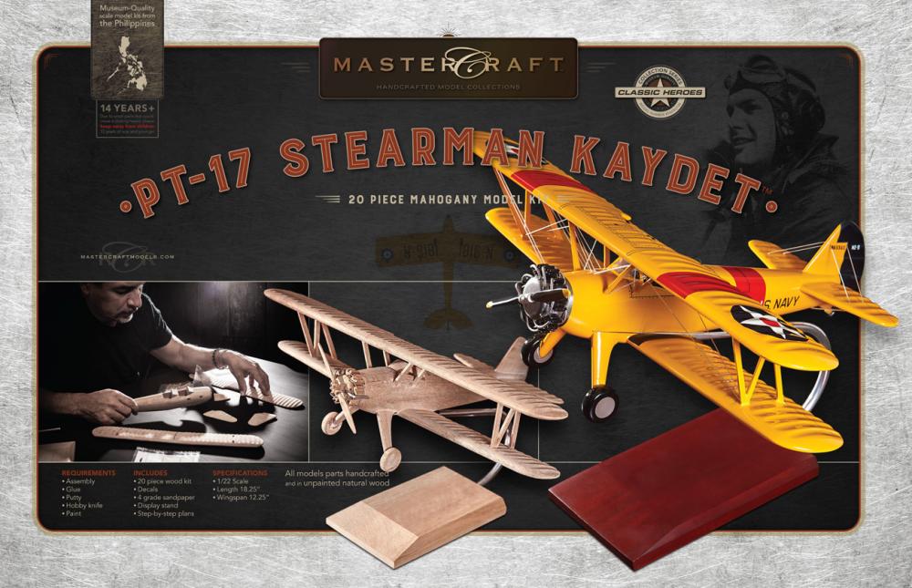 PT-17 STEARMAN KAYDET RTA SOLID MAHOGANY WOOD MODEL KIT SCALE: 1/22