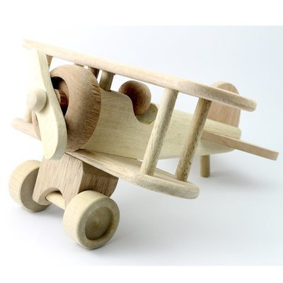 Wooden Bi-Plane 10.25 Inches (Length)