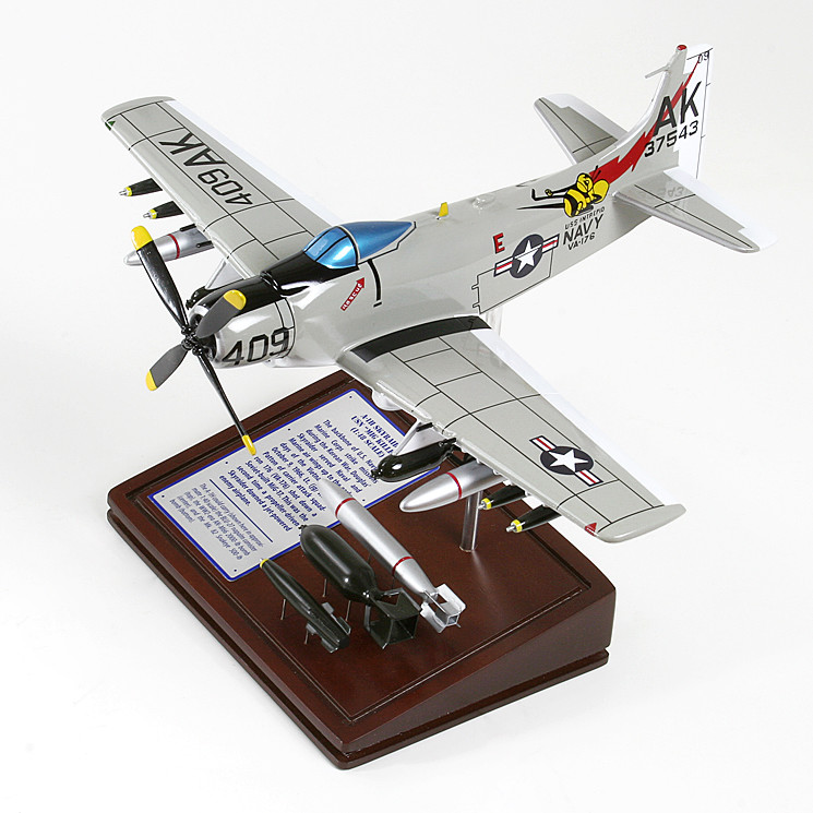 A-1H Skyraider USN Wood Model Plane