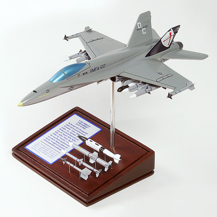 F-18C Hornet (Crusader) 1/56 Wood Model Aircraft with Scale Ammunition