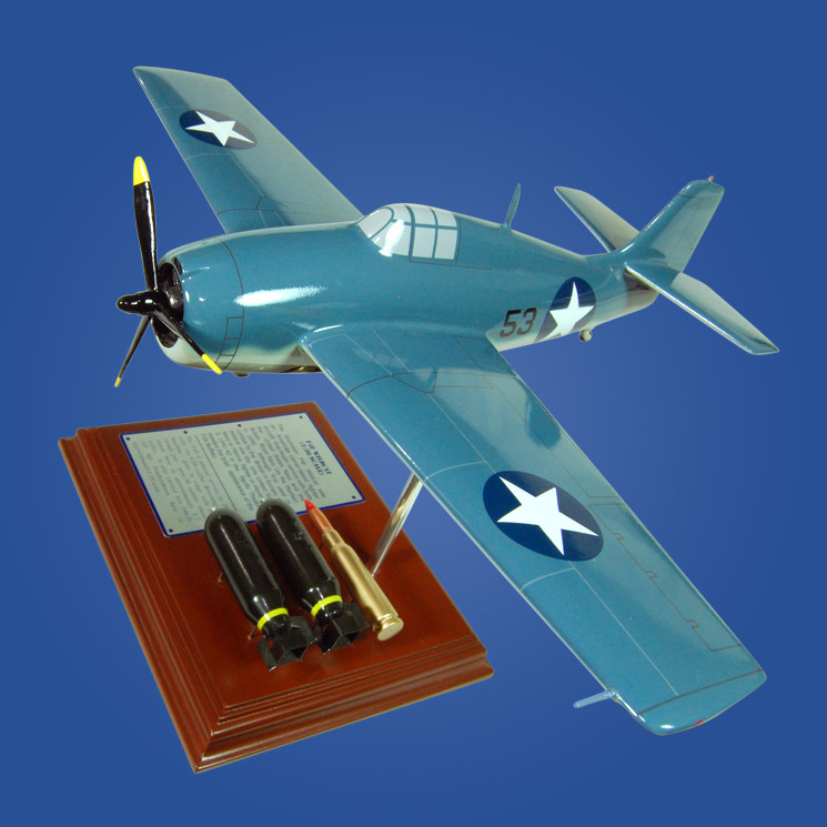 F4F Wildcat 1/36 Wood Model Aircraft with Scale Bomb